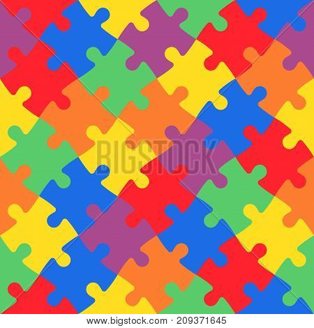 Multicolored jigsaw puzzle in diagonal arrangement. Playful and children theme. Simple flat vector illustration.