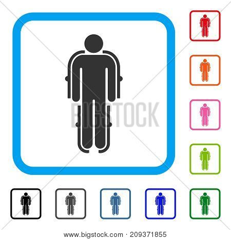 Exoskeleton icon. Flat grey pictogram symbol in a light blue rounded square. Black, gray, green, blue, red, orange color versions of Exoskeleton vector.