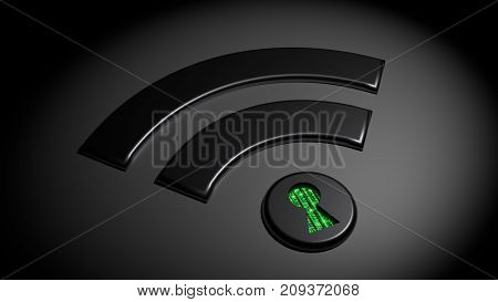 Black wifi symbol in the dark where the dot has a keyhole revealing green matrix binary streams compromised WPA2 wifi network cybersecurity 3D illustration