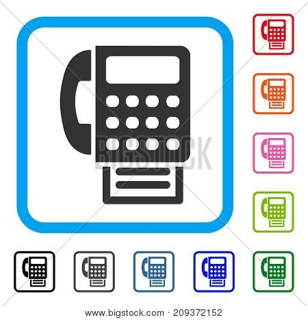 Fax icon. Flat gray pictogram symbol inside a light blue rounded squared frame. Black, gray, green, blue, red, orange color variants of Fax vector. Designed for web and software UI.