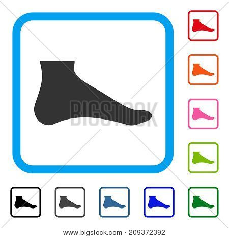 Foot icon. Flat grey iconic symbol inside a light blue rounded rectangle. Black, gray, green, blue, red, orange color additional versions of Foot vector. Designed for web and application UI.
