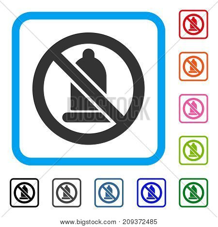 Forbidden Condom icon. Flat grey pictogram symbol inside a light blue rounded square. Black, gray, green, blue, red, orange color additional versions of Forbidden Condom vector.