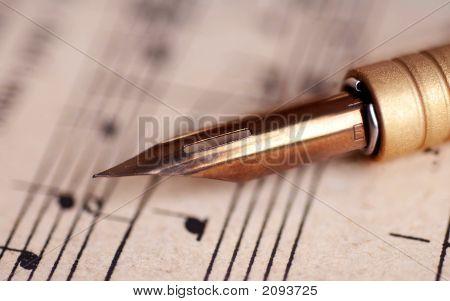 Fountain Writing Pen On Music Sheet