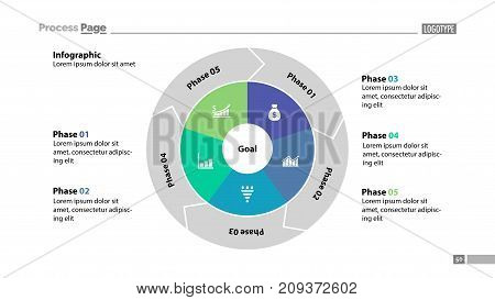 Five phases process chart slide template. Business data. Goal, circle, design. Creative concept for infographic, presentation, report. Can be used for topics like management, recruitment, analytics.