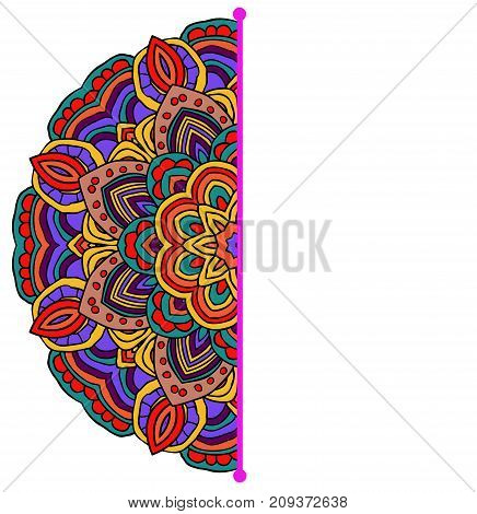 Colored vector half mandala. Can be used as card, invitation. Holi celebration card.