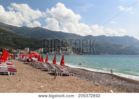 BECICI, MONTENEGRO - SEPTEMBER 10, 2013: These are the beaches that are located along the Adriatic coast near the city.