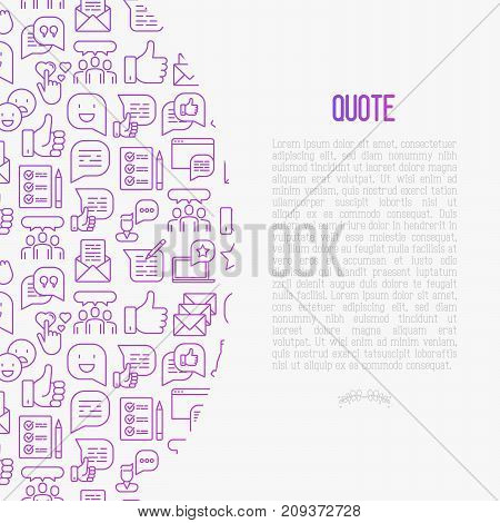 Testimonials and quote concept with thin line icons of review, feedback, survey, comment. Vector illustration for banner, web page, print media.