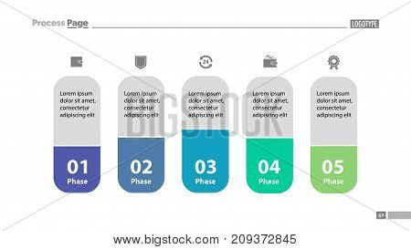 Five elements process chart slide template. Business data. Model, comparison, design. Creative concept for infographic, presentation, report. Can be used for topics like management, economics, analytics.