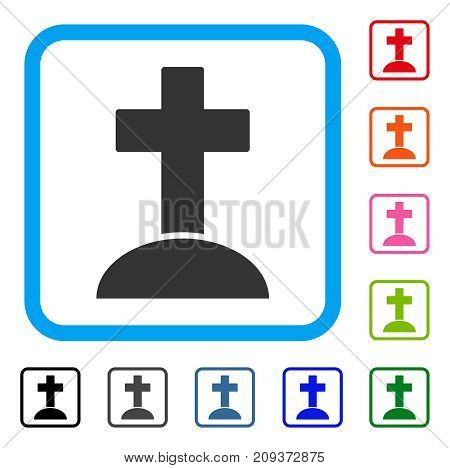 Grave icon. Flat grey pictogram symbol inside a light blue rounded squared frame. Black, gray, green, blue, red, orange color variants of Grave vector. Designed for web and software interfaces.