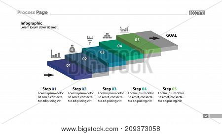 Five steps process chart slide template. Business data. Startup, goal, design. Creative concept for infographic, presentation, report. Can be used for topics like marketing, planning, research.