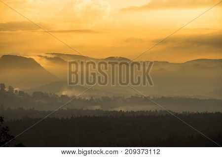 Golden Dawn In The Mountains Of The Czech Republic