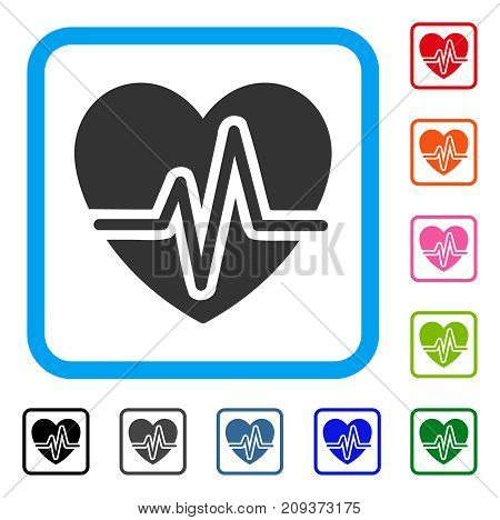 Heart Diagram icon. Flat grey pictogram symbol in a light blue rounded square. Black, gray, green, blue, red, orange color versions of Heart Diagram vector.