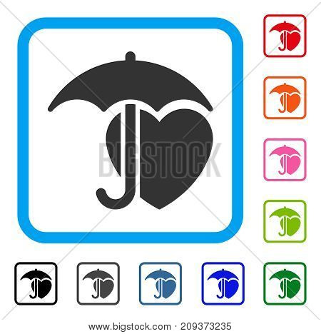 Heart Protection icon. Flat gray iconic symbol inside a light blue rounded square. Black, gray, green, blue, red, orange color versions of Heart Protection vector. Designed for web and app interfaces.