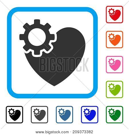 Heart Surgery icon. Flat grey pictogram symbol in a light blue rounded frame. Black, gray, green, blue, red, orange color versions of Heart Surgery vector.