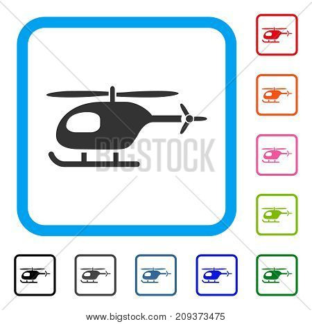 Helicopter icon. Flat grey pictogram symbol inside a light blue rounded squared frame. Black, gray, green, blue, red, orange color additional versions of Helicopter vector.