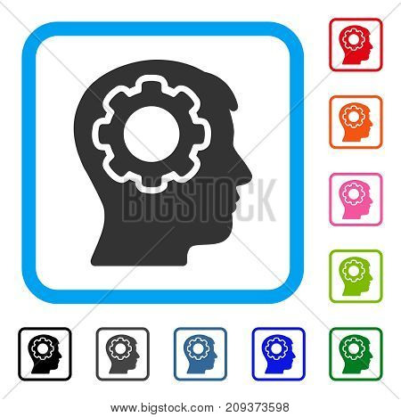 Human Mind icon. Flat gray pictogram symbol inside a light blue rounded square. Black, gray, green, blue, red, orange color variants of Human Mind vector. Designed for web and application interfaces.