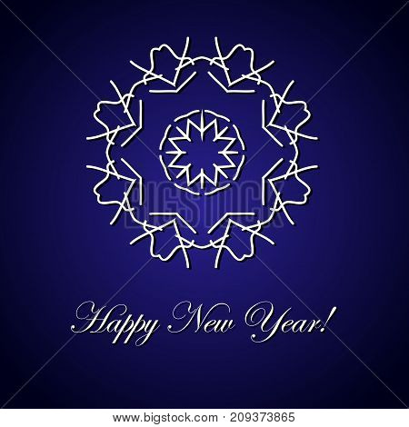 New Year. The inscription and the big snowflake. Vector illustration on a blue background.