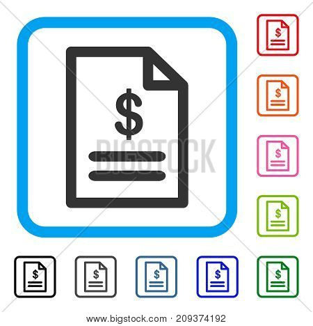 Invoice icon. Flat grey iconic symbol in a light blue rounded square. Black, gray, green, blue, red, orange color additional versions of Invoice vector. Designed for web and software UI.