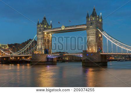 Tower Bridge In The Evening, London, England