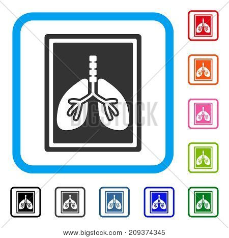 Lungs X-Ray Photo icon. Flat grey iconic symbol inside a light blue rounded square. Black, gray, green, blue, red, orange color versions of Lungs X-Ray Photo vector.