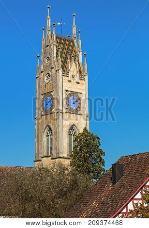 Clock tower of the reformed church in the town of Andelfingen, Switzerland.