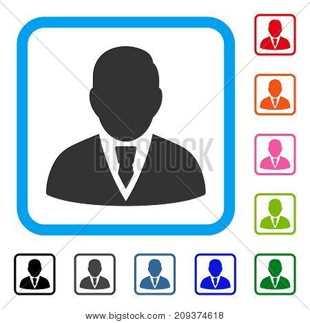 Manager icon. Flat gray iconic symbol inside a light blue rounded frame. Black, gray, green, blue, red, orange color versions of Manager vector. Designed for web and application interfaces.