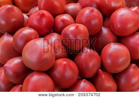 Delicious red tomatoes. A pile of tomatoes. Summer tray market agriculture farm full of organic tomatoes. Fresh tomatoes.