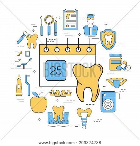 Vector round linear concept of dental care with outline icons. Molar and calendar in center. Teeth, tools, treatment, professional health care and orthodontics, implants in blue and yellow colors