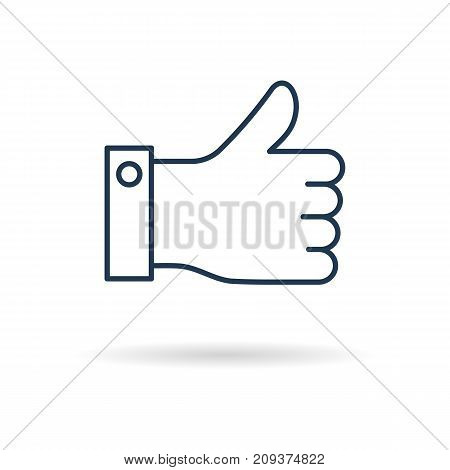 Vector line art thumbs up as like concept. Isolated web outline icon on white background