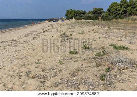 CHALKIDIKI, CENTRAL MACEDONIA, GREECE - AUGUST 25, 2014: Seascape of Blue Dolphin Cove Beach Metamorfosi at Sithonia peninsula, Chalkidiki, Central Macedonia, Greece