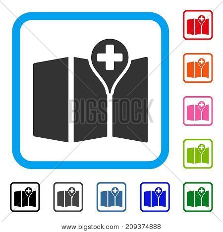 Medical Map icon. Flat gray iconic symbol in a light blue rounded square. Black, gray, green, blue, red, orange color additional versions of Medical Map vector. Designed for web and application UI.