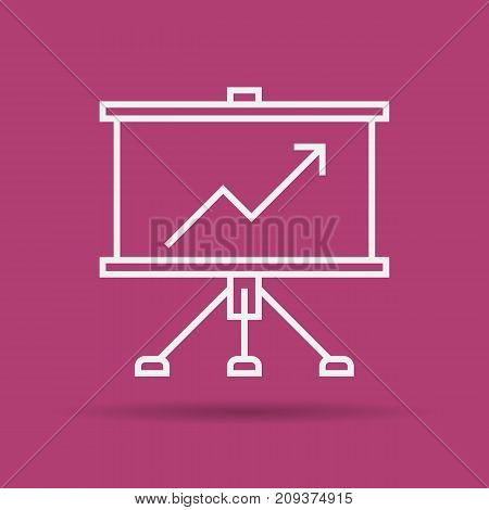 Vector linear presentation business board. Business equipment items. Concept of successful learning process. Isolated web outline icon on purple background
