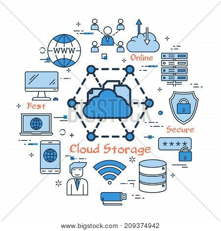 Vector horizontal business banner. Concept of cloud storage and safe data keeping on server. Various computers and man user sitting with laptop in flat style