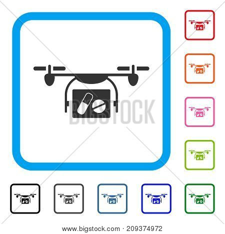 Medical Quadcopter icon. Flat grey iconic symbol inside a light blue rounded squared frame. Black, gray, green, blue, red, orange color additional versions of Medical Quadcopter vector.