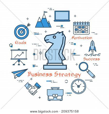 Vector linear blue round concept of business strategy. Chess knight in the center and around the various line icons