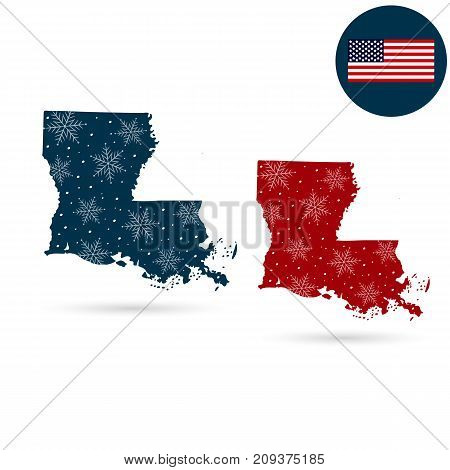 Map of the U.S. state of Louisiana. Merry christmas and a happy new year