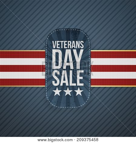 Veterans Day Sale realistic Badge and Ribbon on blue striped Background. Vector Illustration