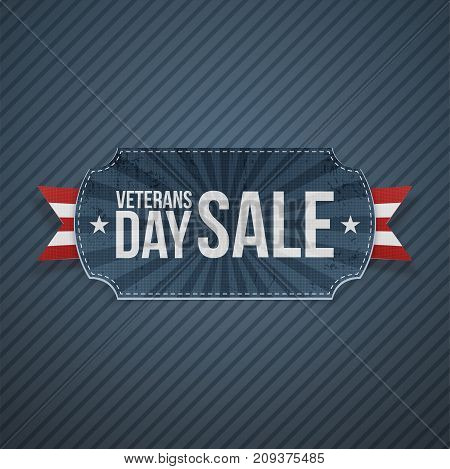 Veterans Day Sale realistic Banner and Ribbon on blue striped Background. Vector Illustration