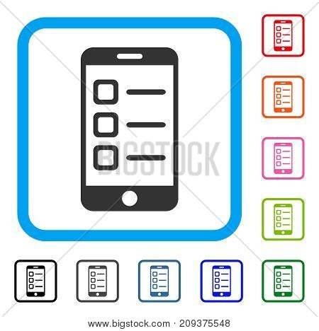 Mobile List icon. Flat grey iconic symbol inside a light blue rounded square. Black, gray, green, blue, red, orange color additional versions of Mobile List vector.
