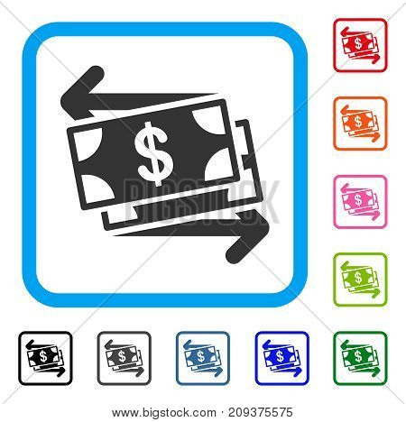 Money Exchange icon. Flat grey pictogram symbol in a light blue rounded square. Black, gray, green, blue, red, orange color variants of Money Exchange vector. Designed for web and application UI.