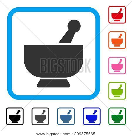 Mortar icon. Flat grey iconic symbol inside a light blue rounded squared frame. Black, gray, green, blue, red, orange color additional versions of Mortar vector. Designed for web and app interfaces.