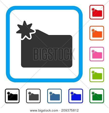 New Folder icon. Flat grey iconic symbol inside a light blue rounded squared frame. Black, gray, green, blue, red, orange color additional versions of New Folder vector.