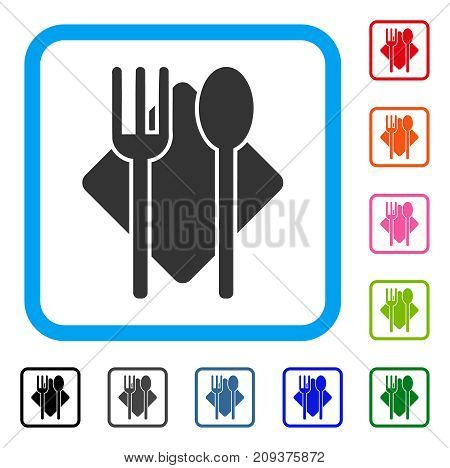 Nutrition icon. Flat grey iconic symbol in a light blue rounded rectangle. Black, gray, green, blue, red, orange color additional versions of Nutrition vector.
