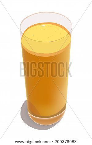 Glass with squeezed orange juice on a white background