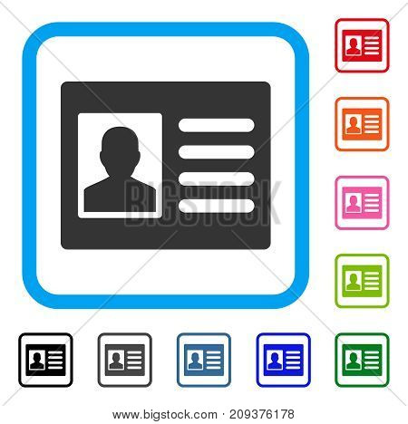 Patient Account icon. Flat gray pictogram symbol in a light blue rounded rectangular frame. Black, gray, green, blue, red, orange color additional versions of Patient Account vector.