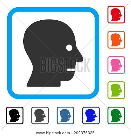 Patient Head icon. Flat gray iconic symbol in a light blue rounded rectangular frame. Black, gray, green, blue, red, orange color additional versions of Patient Head vector.