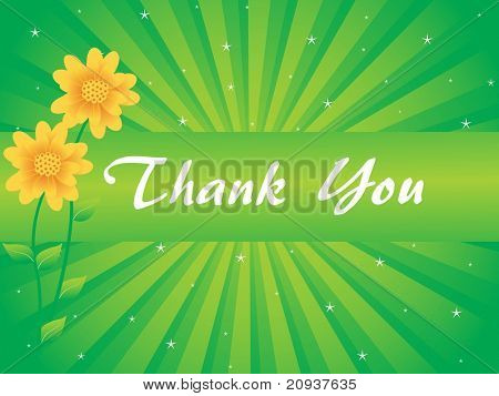 floral background with thank you text