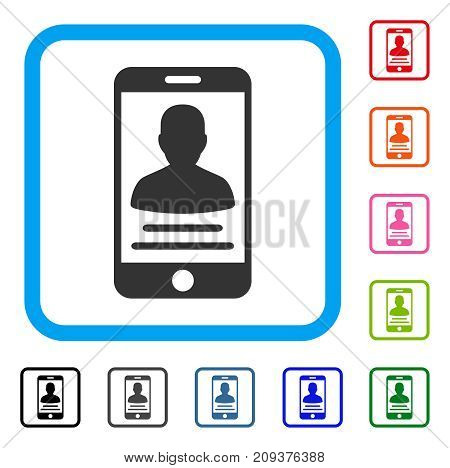 Patient Mobile Account icon. Flat grey iconic symbol in a light blue rounded squared frame. Black, gray, green, blue, red, orange color additional versions of Patient Mobile Account vector.