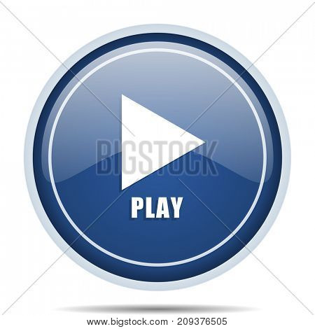 Play blue round web icon. Circle isolated internet button for webdesign and smartphone applications.