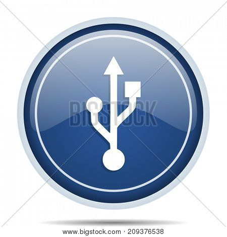 Usb blue round web icon. Circle isolated internet button for webdesign and smartphone applications.
